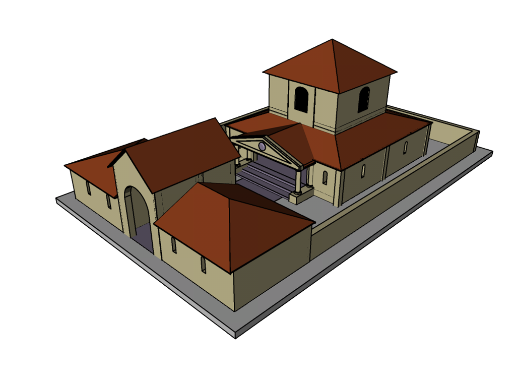 Romano British Temple. Work in progress. Initial conjectural 3D reconstruction of the Romano British Temple at Venta Silurum (Caerwent).